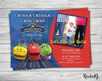Chuggington Birthday Invitation - Choo Choo Train Party Digital File PDF or JPG