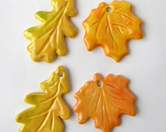 Autumn Maple & Oak Ceramic leaves