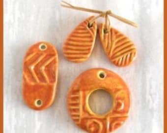 Burnt Orange /yellow ceramic component set