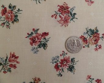 Vintage Fabric, Quilting Cotton, Beige Floral Pink/Rose Small Print, Sewing Material, Craft Supply, One/ 1 Yard, Remnant Yardage