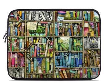 Laptop Sleeve Bag Case - Bookshelf - Neoprene Padded - Fits MacBooks + More