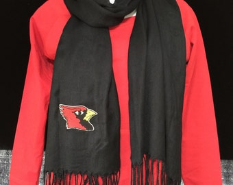 Embroidered Black Cardinal Scarf
