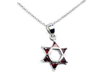 Jewish Star of David Red CZ & .925 Sterling Silver Pendant Necklace, T221X16