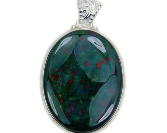Large Rare Natural Bloodstone & .925 Sterling Silver Pendant , AD970 by TheSilverPlaza