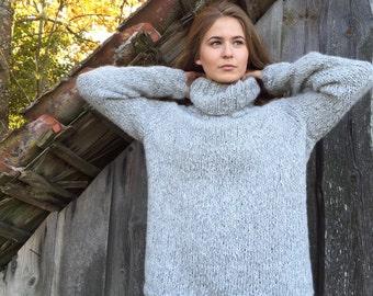 Gray sweater Alpaca wool sweater Women's sweater Grey sweater Oversized sweater Plus size sweater Made to order