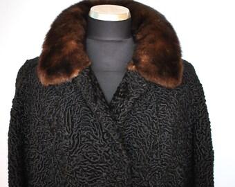 Vintage Black Persian Lamb Coat with Mink Collar, full length  fur coat....