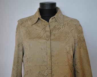 Vintage EMBOSSED LEATHER JACKET , with nautical pattern  .....(028)