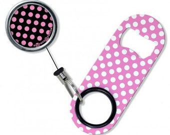 Polka Dots - Mini Opener with Retractable Reel
