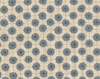 Moda Quilt Fabric - Kathy Schmitz Studio - Rubys Flower Garden - Blue Floral Print - By the Yard