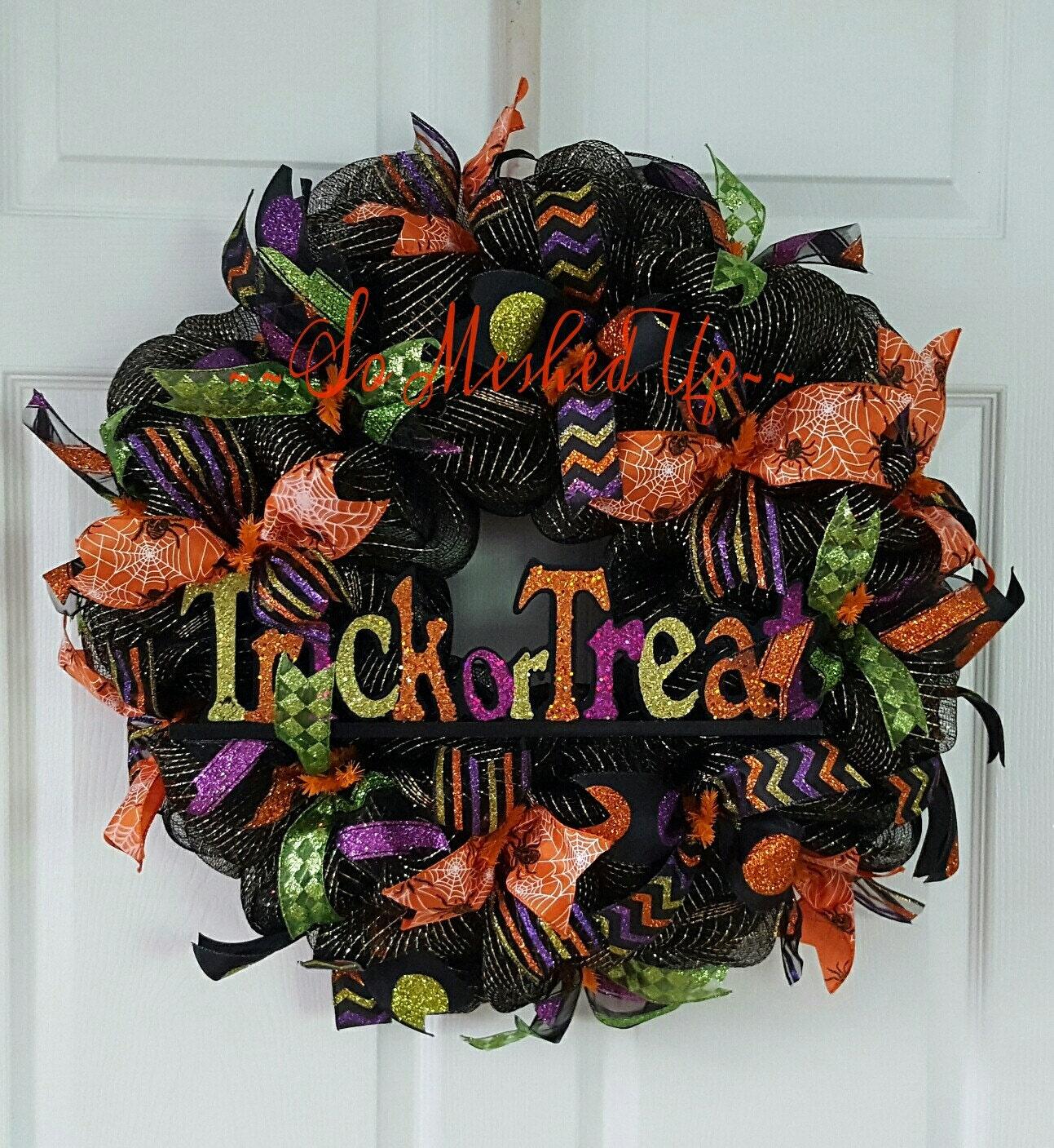 Wreath Ideas: Halloween Wreath Deco Mesh Halloween Wreath Trick Or Treat