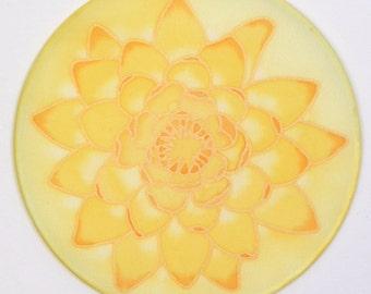 "Silk mandala, lotus flower, 6""Ø, for meditation, picture, yoga, relaxation"