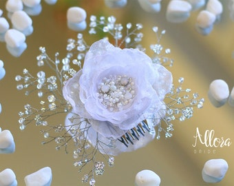 Wedding hair comb with white flower. Bridal hair comb. Bridal Headpiece.