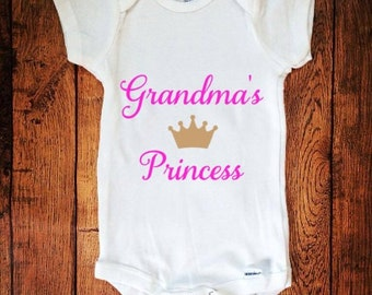 Grandma's Princess, Princess Outfit, Princess, Newborn Outfit, Baby Outfit, Baby Bodysuit, Quote Outfit, Newborn Bodysuit, Baby Shower Gift,