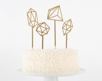 Geometric Cake Toppers Set: mirrored gold (set of 4)