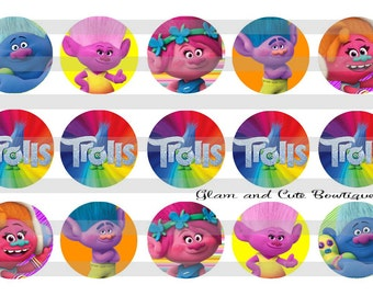 """TROLLS The Movie INSTANT DOWNLOAD Bottle Cap Images 4x6 sheet 1"""" circles"""