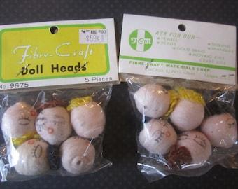 Spun Cotton Doll Heads Vintage 20mm Craft Head Bead Face Supply Lot (#525)