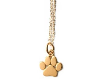 Gold Paw Print Necklace, Paw Print Necklace, Gold Paw Print, Gold Paw, Paw Print, Gold Paw Necklace