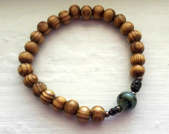 Olive Wood Bracelet with Glass Focal Bead