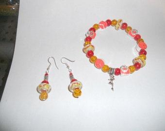 Mulano Tie dye, peace, pocket book,  orange, red  & yellow fairy bracelet with earring set