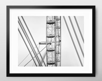 Modern Geometric, London Wall Art, black and white, minimal fine art photography 'Geometric Structure'. contemporary decor