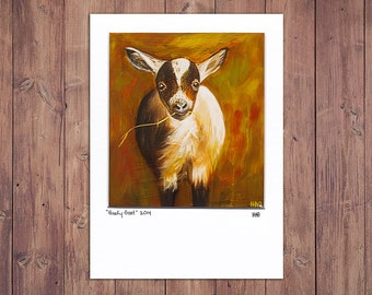 Goat Art Print, Matted to fit a 5x7 frame, Farm Decor