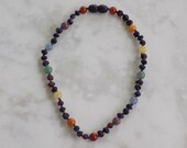 11.75 Inch Rainbow Baltic Amber and Gemstone Necklace Knotted on Silk