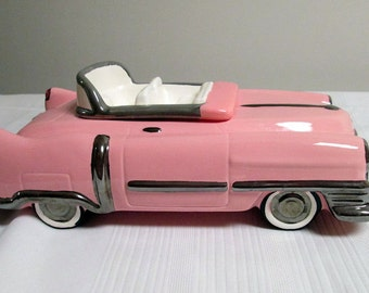 Pink Cadillac Ceramic Cookie Jar  1986