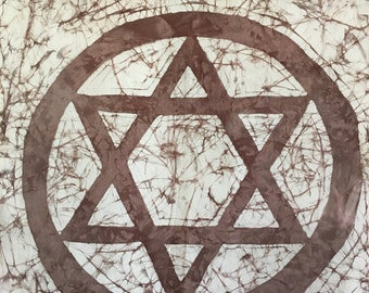 Batik wall hanging star of david or magen david/ Beautiful gift / Home Decor.