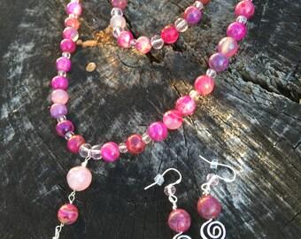 Pink Crazy Lace Agate necklace set