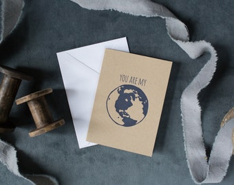 Letterpress 'You Are My World' Card