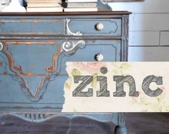 Sweet Pickins Milk Paint | Color - ZINC | Farmhouse Cottage | Chippy | Rustic | Primitive | Furniture Paint | Home Decor | Grey | Gray