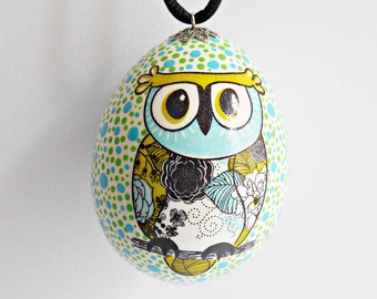 FREE SHIPPING, Handmade egg, Chicken egg shell, Easter home decorations, Easter decor, Owl, Pysanka, Pysanky, Turquoise, Green, Black, White