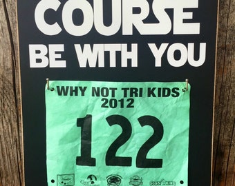 MEDAL display, may the COURSE be with you, STaR WaRS race rack, child race rack, bib trophy sign, race medal holder, runner display