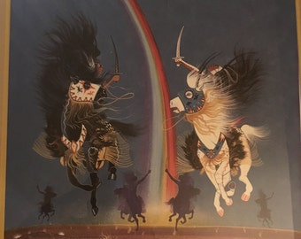 "Signed and numbered Rance Hood lithograph ""Sioux Rainmakers"" 1974 (454/1500)"