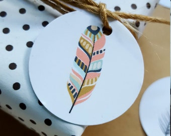 Boho Feather Mini Tags/ Baby Shower Favour Tags