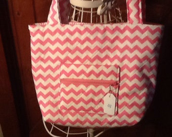 Pink Chevron Handbag on sale