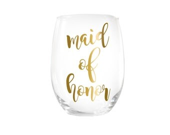 Maid of Honor Stemless Wine Glasses Gift > Bridesmaid Proposal > Bridal Party Gifts > Wedding Wine Glasses > Custom Gift