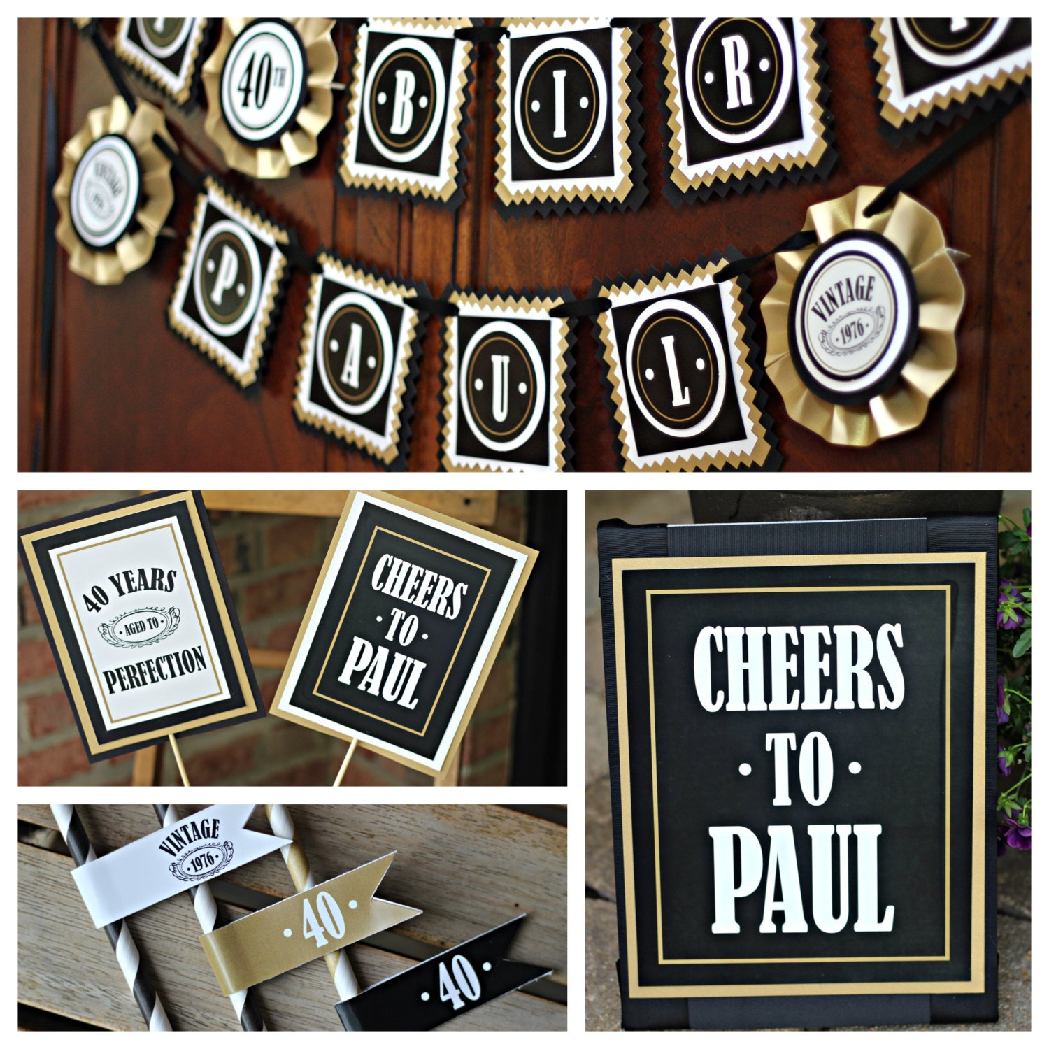 Masculine and modern adult birthday decorations 4 piece 40th for 40th birthday decoration