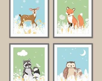 Woodland Animal Nursery, Forest Decor, Woodland Nursery Art, Forest Animals, Fox, Deer, Owl, Raccoon, Animal Print