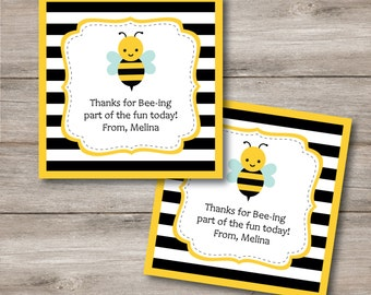 Bumble Bee Favor Tags With Editable Text Printable Bumblebee Party DIY Treat