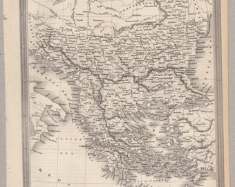 1843 Vintage Map of Turkey and Greece in Europe #00163
