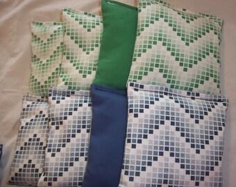 8 ACA Regulation Cornhole Bags - Mosaic Chevron Stripes in Blue and Green
