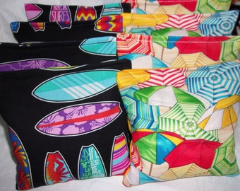 8 ACA Regulation Cornhole Bags - Tropical Beach Surfboards Print and Beach Umbrellas