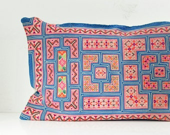 "Chinese wedding blanket HMONG ikat Aztec Kilim Textile Embroidered Ethnic Made Tradition Costume Pink Pillow Case 17"" x 26"""