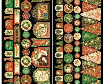 Graphic 45 ST. NICHOLAS 6x12 Sheet of Christmas Cardstock Die-Cuts -- Banners