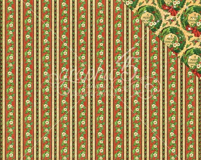 2 Sheets of ST. NICHOLAS Christmas Scrapbook Cardstock by Graphic 45 Paper - North Pole