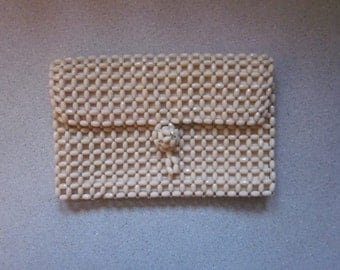 1930s Beige Faille Envelope Clutch with Overlay of Plastic Beads