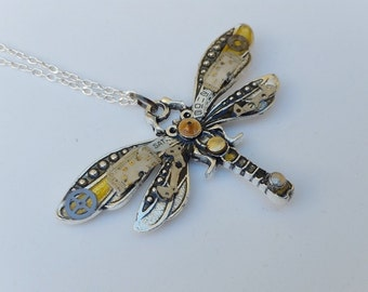 Steampunk Necklace, 'Mechanical Dragonfly Pendant, Dragonfly With Vintage Mechanical Watch Parts, Dragonfly Necklace