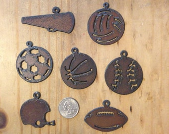 sports balls(3) rusted metal charms