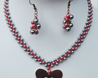 Sale Heart Gray Pink  Collar Necklace and earring , Beaded collar necklace
